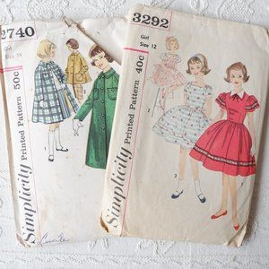 50s Teens Simplicity Patterns : Coat and Dress